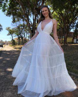 Vestido de noiva longo, em tule de poá devorê, para casamento civil, pré weeding, cerimonia intimista.