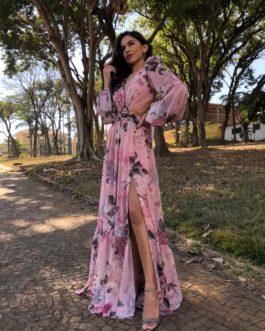 Vestido de festa longo em musseline de seda estampada, mangas longas bufantes, para madrinhas, convidadas, mãe de noivo(a)
