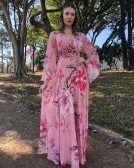 Vestido de festa longo, estampado com mangas fluidas, para madrinhas, formandas, convidadas, mãe de noivo (a)