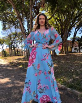 Vestido de festa longo, estampado manga longa, para madrinhas, formandas, mãe de noivo(a), convidadas