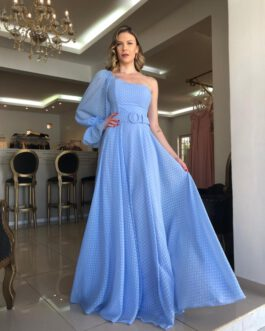 Vestido de festa longo, um ombro só poá devorê, para madrinhas, formandas, convidadas, mãe de noivo(a)