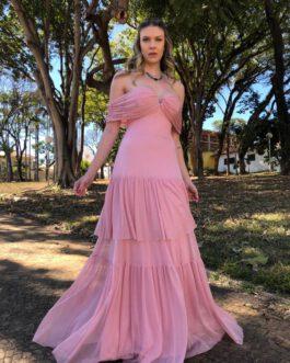Vestido de festa longo, ombro a ombro de saia com babados, para madrinhas, formandas, convidadas, mãe de noivo(a)