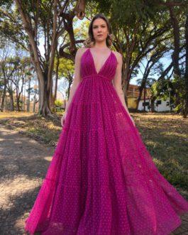 Vestido de festa longo, em tule de poá devorê, para madrinhas, formandas, convidadas.