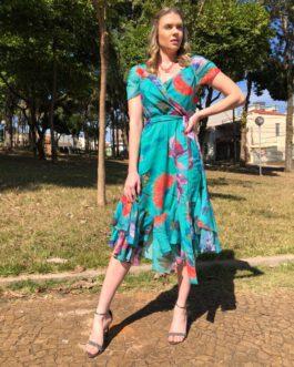 Vestido midi estampado com manguinha curta barra assimétrica
