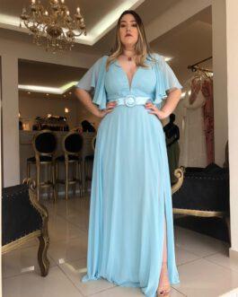 Vestido de festa longo, com manga curta babados e cinto, para madrinhas, formandas, mãe de noivo (a)