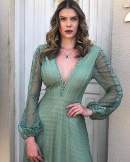 Vestido de festa longo, saia fluida e manga longa, para madrinhas, formandas, mãe de noivo (a)