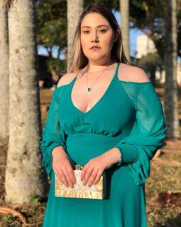 Vestido de festa longo, saia fluida alcinha com manga longa, para madrinhas, formandas, convidadas, mãe de noivo (a)