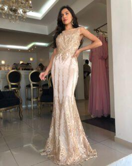 Vestido de festa longo, sereia com bordados, para madrinhas, formandas, mãe de noivo (a)