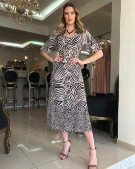 Vestido de festa midi estampado com manguinha bufante