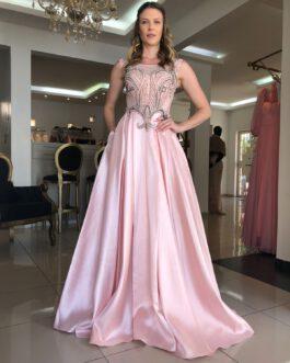 Vestido de festa longo, top bordado saia fluida de zibeline com lurex, para formandas, madrinhas, mãe de noivo (a)