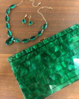 Clutch madreperola verde retangular
