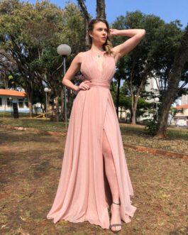 Vestido de festa longo, em lurex com saia envelope, para madrinhas, formandas, convidadas, mãe de noivo (a)