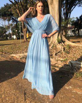 Vestido e festa longo com manguinha fluida, saia fluida de rendas, para madrinhas, formandas, mãe de noivo (a)