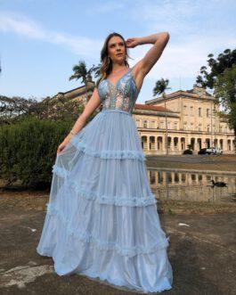 Vestido de festa longo, top bordado com saia detalhe em mini babados, para madrinhas, formandas, mãe de noivo (a)