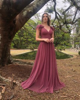 Vestido de festa longo, saia fluida de poá com babados, para madrinhas, formandas, mãe de noivo, convidadas