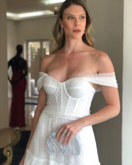 Vestido de noiva longo, com corpete em tule de poá devorê, para casamento civil, pré weeding, cerimonia intimista.