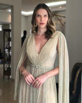 Vestido de festa longo, tecido em lurex com capa removível e fenda, para madrinhas, formandas, mãe de noiva (o)