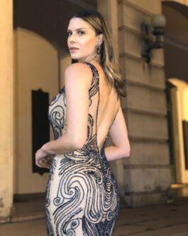 Vestido de festa longo, inteiro bordado a mão com fenda, para formandas, madrinhas, mãe de noivo (a)