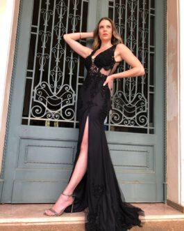 Vestido de festa longo, modelo sereia com fenda e top bordado para formandas, convidadas e bailes de gala