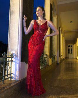 Vestido de festa longo, inteiro de renda com bordado sereia, para formandas, madrinhas, mãe de noivo (a)
